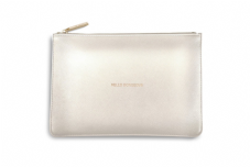 Katie Loxton HELLO GORGEOUS Perfect Pouch Clutch Bag - Metallic White